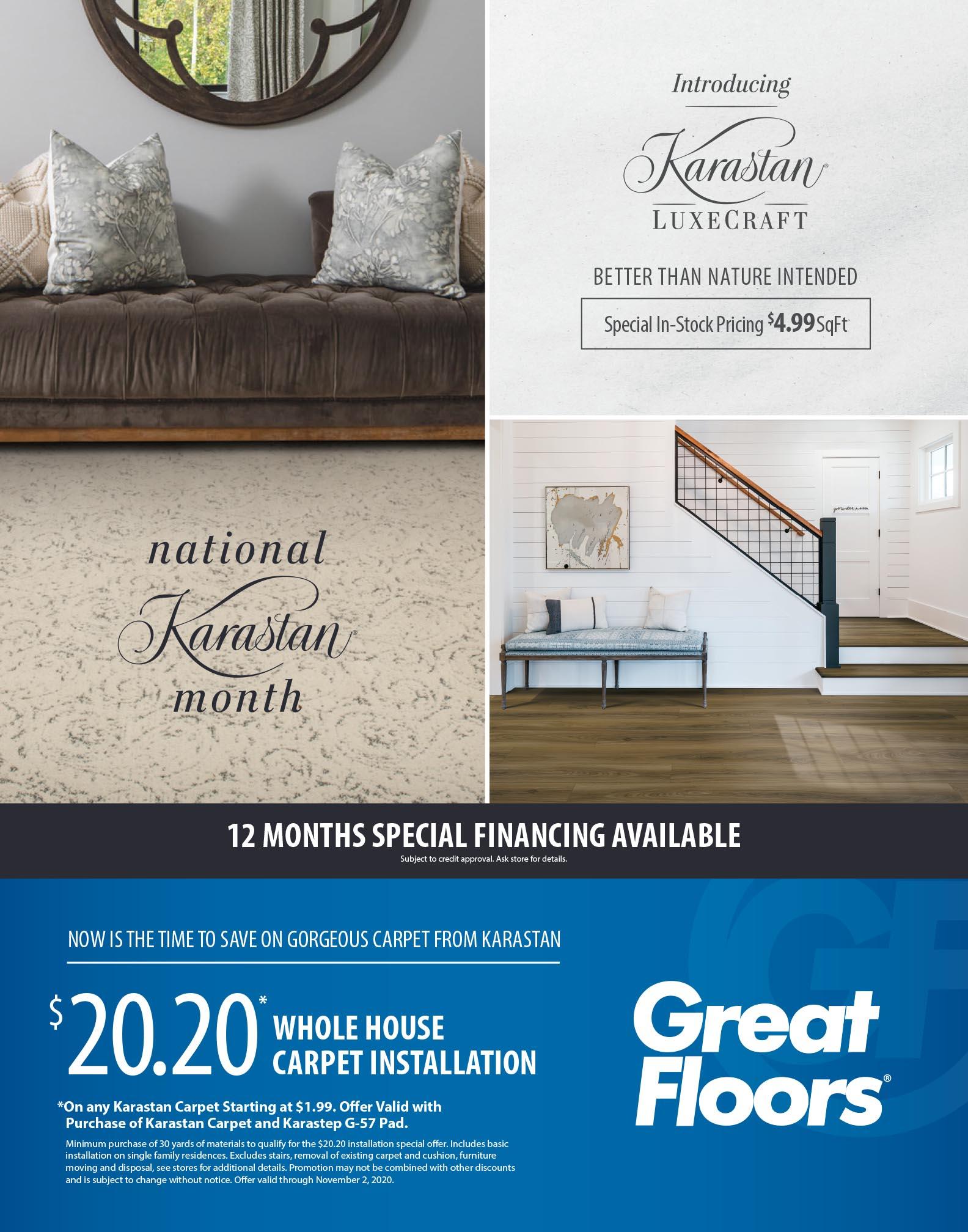 National Karastan Month sale flyer | Great Floors